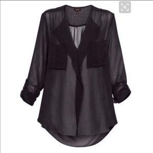 Aritzia T. Babaton Finley Silk Blouse -BLACK- sz.S